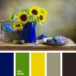 color of leaves, color of sunflowers, color palettes for decoration, colors for decoration, dark grey, dark grey and yellow, deep blue, designer's palettes