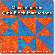 Learn to make a Massachusetts quilt block (a close relative of the Ohio Star). Step-by-step instructions. One of many blocks in our Free Quilt Block Patterns Library.