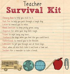 Teacher survival kit printable 2 teacher gifts back to school, school supplies for teachers, School Supplies For Teachers, Survival Kit For Teachers, Back To School Teacher, Teacher Supplies, Meet The Teacher, New Teacher Gifts, Teacher Emergency Kit, Teacher Graduation Gifts, Teacher Poems