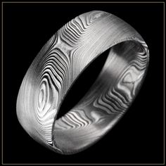 Andrew Nyce Wood Grain Damascus Stainless Steel Ring