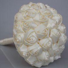 Simple Candy Color Wedding Artificial Flower Foam Ball Wedding Bridal Bouquet Durable Silk Rose Wedding Bouquet Customized W223