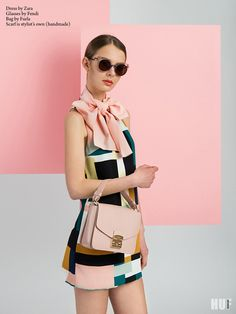 sugar and spice fashion editorial. rose quartz, fendi glasses, furla bag, zara dress
