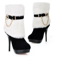 Warm And Cozy In The Winter high Heel Boot .