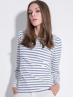 Long Sleeve Round Neck Striped Casual T-Shirt - Striped T-Shirts - T-Shirts - Tops$22.00