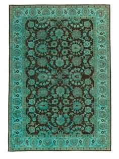 50% OFF Silk Hand-Knotted Ikat Rug (Turquoise Multi)