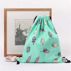 2017 Summer Fresh Style Women Drawstring Bag Cartoon ice-cream Printed Backpack Sack Pack Backpack Girls School Beach Bag #Affiliate