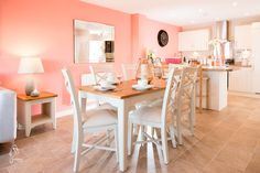 Grey, pink and white kitchen/dining room, country style, new home, 4 bedroom townhouse.