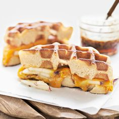 Sandwiches made with waffles yield sweet and savory results. Recipe: Apple-Cheddar Waffle Panini   - Delish.com