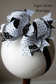 Black and White Layered Boutique Hair Bow