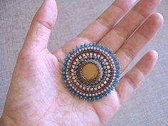 Mare verde blu ricamo spilla naturale perline di diaspro spilla gioielli