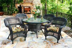 Tortuga Outdoor Portside 5 Piece Wicker Dining Set - Callie Coffee