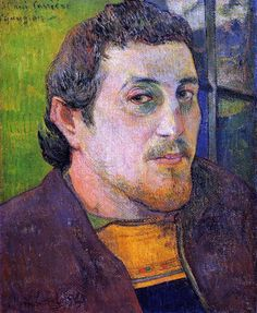 Paul Gauguin Self Portrait 1886. after selling a few paintings, working parttime posting signs, and participating in th 8th and final Impressionist exhibition, he travelled to Brittany. Here he is shown proudly wearing an embroidered Breton waistcoat.