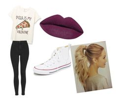 """ pizza"" by aliyahlarose on Polyvore featuring beauty, Topshop and Converse"