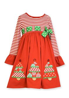bonnie jean long sleeve christmas tree dress girls 4 6x christmas tree dress