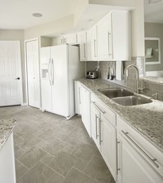 white cabinets, gray subway tile, kashmir white granite - my kitchen inspiration except with dark wood floors?