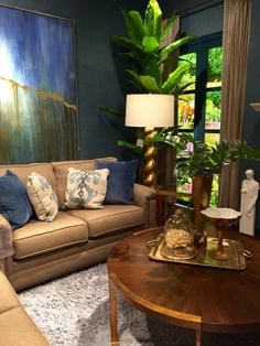 Deep blues and soft neutral colors bring this look together  for a cohesive yet eclectic look! Along with our amazing selection of quality furniture, we have tons of unique decorative accessories to choose from here at GF! Stop by our 7227 W. Grand Parkway TODAY to find the perfect finishing touches for your home! | Houston TX | Gallery Furniture |