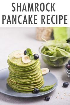 """When's the last time you added fresh spinach to your pancake batter? 😱  If you said, """"NEVER!"""", then you haven't met the magic of my lucky Shamrock Pancakes yet!  I promise, these pancakes are so yummy and festive no one will even know their green hue is thanks to Mother Nature instead of a few drops of food coloring. Irish Recipes, Fall Recipes, Danette May, Healthy Snacks, Healthy Recipes, Gluten Free Living, Looks Yummy, Diet Meal Plans, Clean Eating Recipes"""