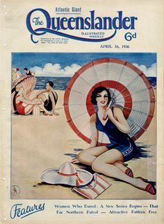 Beautiful vintage print of a woman on the beach with a striped umbrella, illustration from the cover of the Queenslander Apr Woman On Beach, Australian Vintage, Queenslander, Vogue, Vintage Magazines, Beach Scenes, Vintage Travel Posters, Beach Day, Vintage Prints