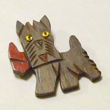 "Vintage 1940's Hand Carved Wood 2"" Scottie Dog with Glass Eyes Brooch/Pin"
