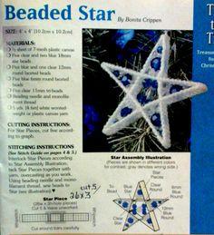 Beaded star pattern plastic canvas
