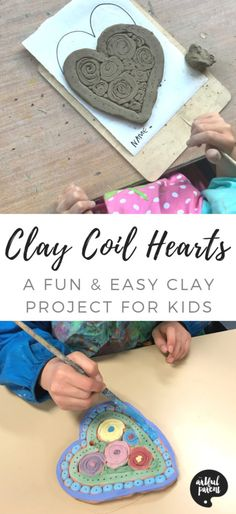 via Artful Parent If you're looking for easy clay projects for kids, try these beautiful clay coil hearts! They are a favorite and the hearts are worthy of displaying or gifting. Clay activity and post by Danielle Falk of Little Ginger Studio. Clay Projects For Kids, Clay Crafts For Kids, Kids Clay, Arts And Crafts, Fun Art Projects, Preschool Crafts, Fun Crafts, Clay Activity, Art Therapy Activities