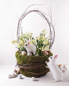 Fill a rustic basket with moss and daffodil bulbs. Lose the bunnies and it's pretty decor beyond Easter.