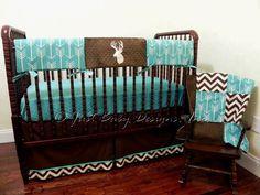 Deer Crib Bedding Set -  Boy Baby Bedding, Crib Rail Cover, Deer Baby Bedding, Brown and Teal Baby Bedding by BabyBeddingbyJBD on Etsy https://www.etsy.com/listing/267942638/deer-crib-bedding-set-boy-baby-bedding