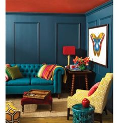 Blue Living Room Decor - What goes with dark blue sofa? Blue Living Room Decor - How do I color coordinate my living room? My Living Room, Living Room Decor, Blue Living Room Walls, Living Area, Cottage Living, Small Living, Living Spaces, Hague Blue, Jewel Tone Colors
