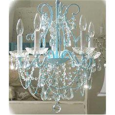 Loving this Shabby Beaded Aqua Blue Crystal Chandelier