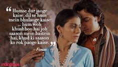 fanaa romantic dialogues bollywood pinterest