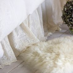 The Annabelle Bed Skirt is a classic dust ruffle that features a gathered, lace design.