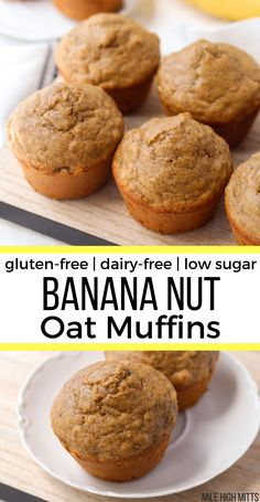 gluten free breakfasts Banana Nut Oat Muffins that are gluten-free, dairy-free, and low in sugar. These healthy muffins are an easy recipe, filled with oat flour, chopped walnuts Muffins Sans Gluten, Dairy Free Muffins, Dairy Free Snacks, Dairy Free Breakfasts, No Dairy Recipes, Sugar Free Recipes, Oat Flour Muffins, Dairy Free Recipes Healthy, Oat Flour Recipes