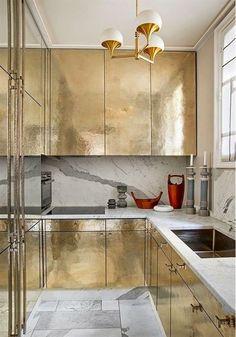 #Kitchen design   #Backsplashes   Interior Design   Hadley Court   #Metallic tile
