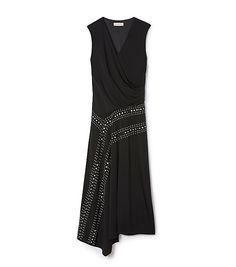Tory Burch Embellished Matte Jersey Wrap Dress