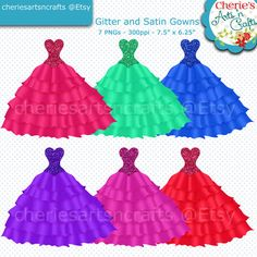 Glitter and Satin Gowns Clip Art, Quinceanera Gowns Clip Art, Gowns Clip Art, Dresses Clip Art, Ball Gowns Clip Art, Glitter Satin Clip Arts