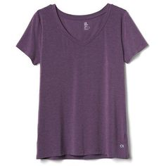 Gap Women Breathe V Neck Tee ($30) ❤ liked on Polyvore featuring activewear, activewear tops, deep grape, regular, v-neck jersey, gap activewear, purple jersey, gap sportswear and v neck jersey