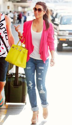 love the pops of color with a simple white t-shirt and jeans... I don't like distressed jeans though