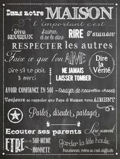 Chalkboard - tableau noir règle de vie français règle de famille family rules in french