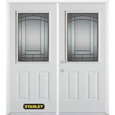 Stanley Doors   74 In. X 82 In. 1/2 Lite 2 Panel Pre Finished White Double  Steel Entry Door With Astragal And Brickmould   1538SX2 36 R   Home Depot  Canada