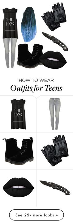 """""""700 hundred followers!!!"""" by slytheringirlriddle on Polyvore featuring Paige Denim, Dr. Martens, Lime Crime, women's clothing, women, female, woman, misses and juniors"""