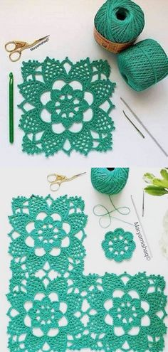 Crochet Motif Patterns, Granny Square Crochet Pattern, Crochet Squares, Crochet Patterns Amigurumi, Crochet Granny, Filet Crochet, Crochet Doilies, Crochet Flowers, Crochet Lace