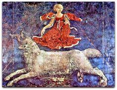 Áries  Com pequenas variações nas datas dependendo do ano, os arianos/carneiros são as pessoas nascidas entre 21 de março e 20 de abril. Seu símbolo é um carneiro.  Francesco del Cossa (1436-1487) afresco da sala dos meses no Palazzo Schifanoia, Ferrara - Itália