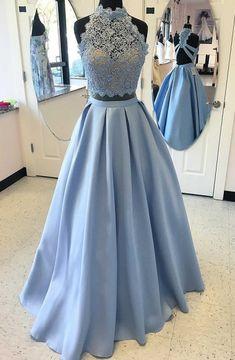 Two Piece High Neck Blue Satin Floor-length Criss-cross Straps Appliques Prom Dress