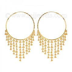 22k Gold Hanging Hoops - AjEr52865 - 22k yellow gold indian style ...