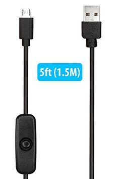 HomeSpot - 1.5m Long USB 2.0 a Micro USB Cable de extensión con botón de encendido Apagado para Raspberry Pi Zero 3 iPhone Smartphone Tablet Carga (Cable USB de 1,5M con conmutador)