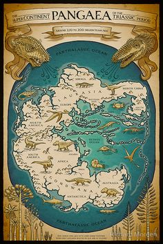 """Map of the supercontinent Pangaea in the Triassic period, when """"first appeared beasties of fur and feather"""". The Tethys Ocean looks like it would have had nice beaches to lounge around on, hunting for nautilus shells, sipping Diño Coladas. (by..."""