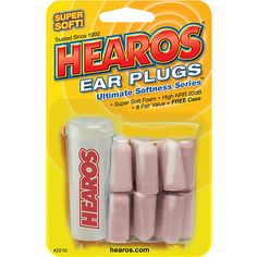 "Hearos Ultimate Softness Ear Plugs (don't call them ""flash colored,"" but this is the only color they come in except for blue, pink, etc)"