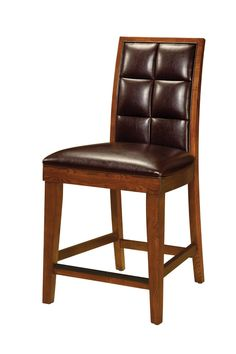 Amazon.com: Modus Furniture Hudson Biscuit Back Leather Counter Stools, Mocha (set of two): Home & Kitchen