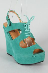 River-3 Lace Up Cut Out Slingback Wedge $11.40