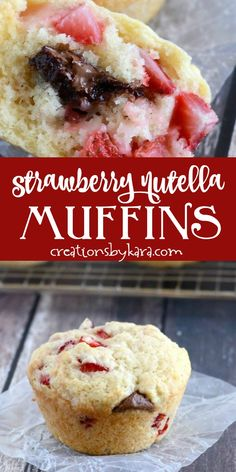 Strawberry Nutella Muffins - light and fluffy strawberry muffins stuffed with Nutella. A muffin recipe that is sure to become a family favorite! Muffin Recipes, Breakfast Recipes, Dessert Recipes, Breakfast Ideas, Chef Recipes, Bread Recipes, Recipies, Thumbprint Cookies, Donut Hole Recipe
